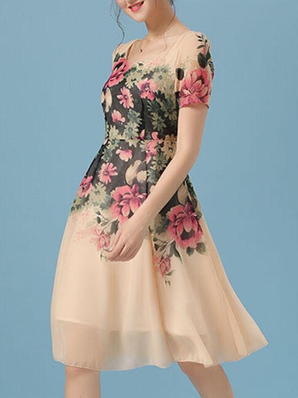 Online Shop Women Dress A-line Short/Knee-length Short Sleeve ...
