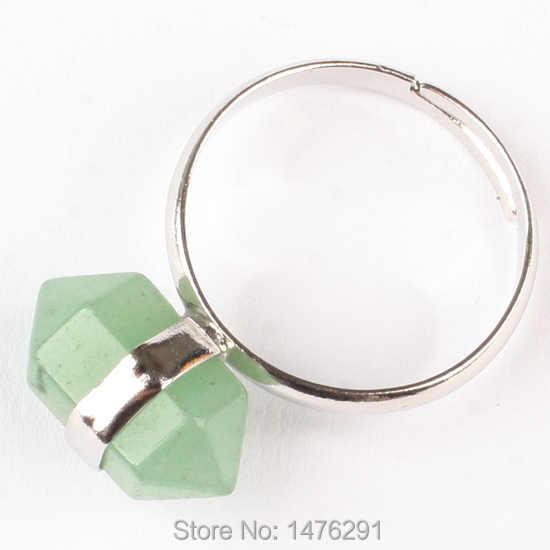 ใหม่ผสมหินสีม่วงคริสตัลสีชมพูควอตซ์สีเขียวฮาวไลท์หินนิลลูกปัดBiconeเหลี่ยมเพชรพลอยแหวน