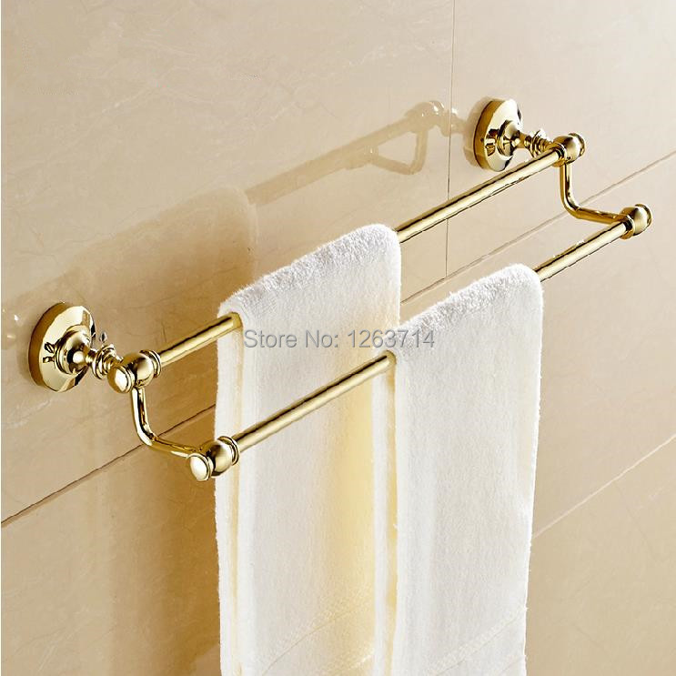 ФОТО Free shipping Brass Double towel bar Golden color towel ring Bathroom Accessories-towel holder wholesale OG-25848C