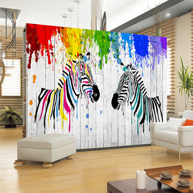 Mediterranean Cartoon Wood Striped Kids Room Wallpaper For: Hand Painted Wall Murals Zebra Striped Woods Wallpapers 3D