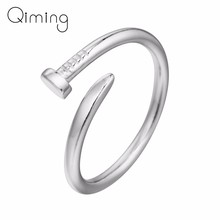 Silver Nail Rings Female Adjustable Open Fashion Jewelry Women Ring Men Girls Birthday Party Gift Dropshipping(China)