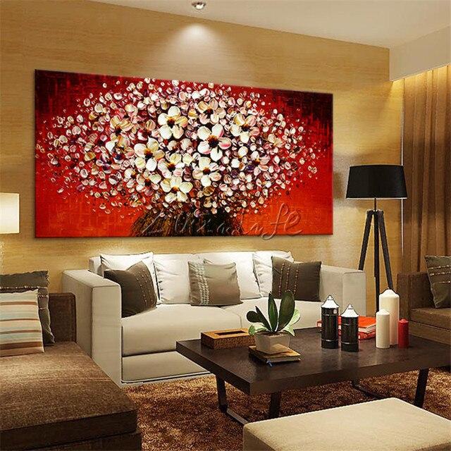 Wohnzimmer bilder leinwand  Leinwand Blume Malerei Hand Gemalte palettenmesser 3D textur ...