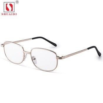 235f8a9c23 Gafas de lectura de lentes de vidrio para hombre y mujer, montura completa  de Metal antifatiga, gafas presbiópicas + 1,00 a + 4,00