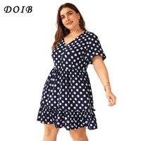 DOIB Plus Size Polka Dot Dresse Short Sleeve Ruffle V Neck Button Elegant Dress XL 2XL 3XL 4XL