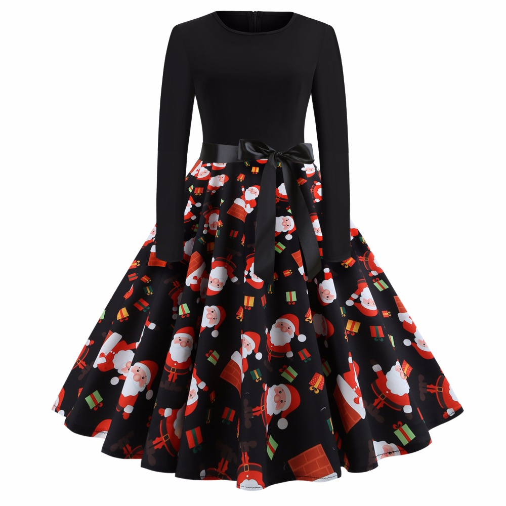 Sensfun Elegant Women Dress Cotton Vintage Dress Floral Dresses With Santa Vestidos Retra With Black Belt For Christmas Party