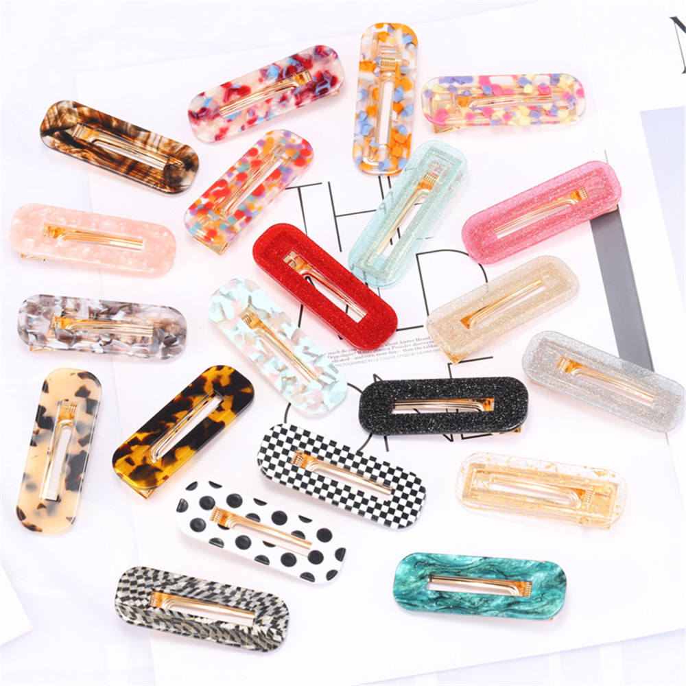 2019 New Acetate Hollow Rectangle Hair Clips For Women Girls Sequins Geometric Hair Hairpins Barrettes Hair Accessories