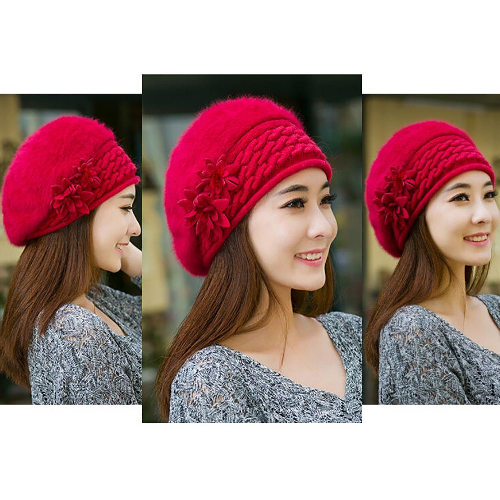 Winter Fashion Women Flower Knit Crochet Slouch Baggy Beanie Hat Beret Ski Cap