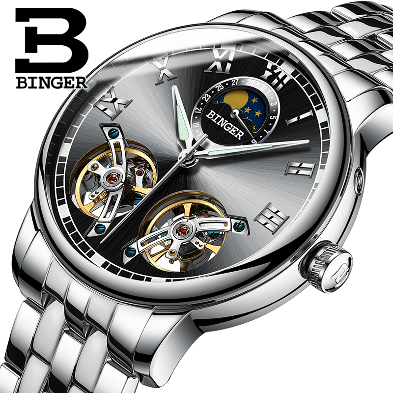 Unique Design Auto Mechanical BINGER Turbilon 30M Fashion Luxury Watch Men Auto Watch 2017 Moon phase Black dial computador cooling fan replacement for msi twin frozr ii r7770 hd 7770 n460 n560 gtx graphics video card fans pld08010s12hh