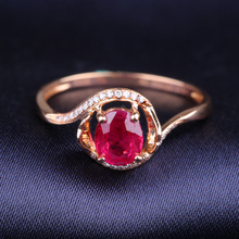 Robira Luxury Classic Wedding Rings for Women 18K Rose Gold Natural Ruby Gemstone Fine Jewelry Diamond Ring