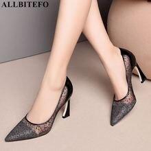 ALLBITEFO moda lentejuelas cuero genuino + encaje tacones altos zapatos de mujer de alta calidad zapatos de tacón alto de mujer boda tacones de mujer