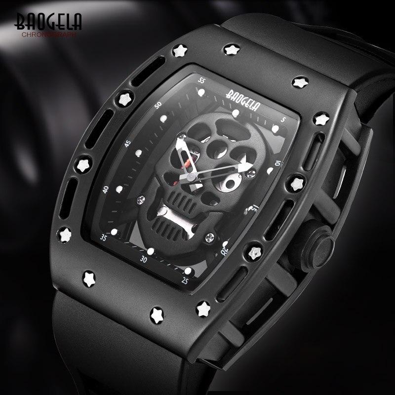 BAOGELA Top Brand Men Fashion Quartz Watch Mens Luxury Silver Skull Wristwatch Male Waterproof Clock Relogio