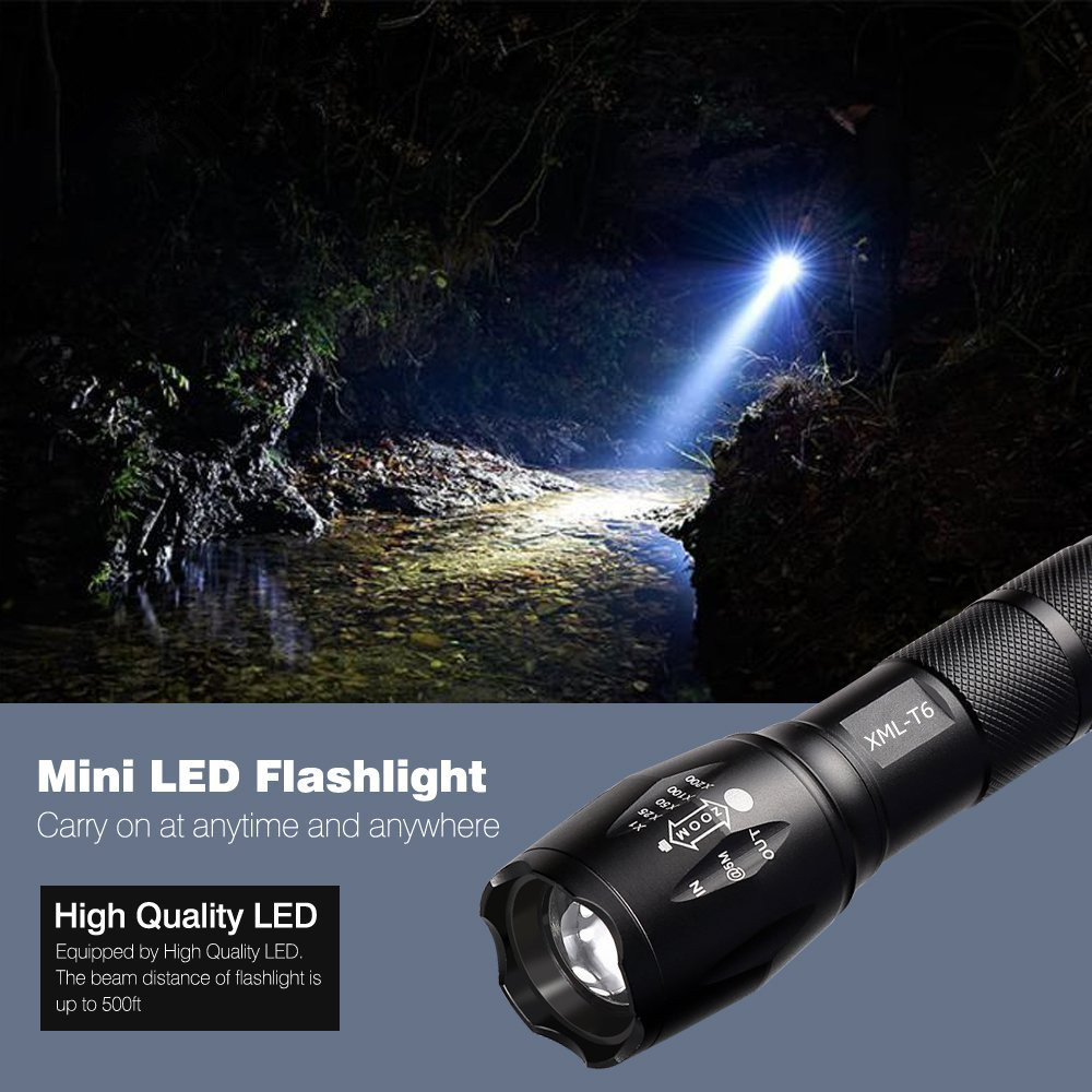 LED Tactical Flashlight T6 5000LM Aluminum Rechargable Waterproof Zoomable Adjustable Military Torch Ligh For Hiking Camping led tactical flashlight t6 5000lm aluminum rechargable waterproof zoomable adjustable military torch ligh for hiking camping