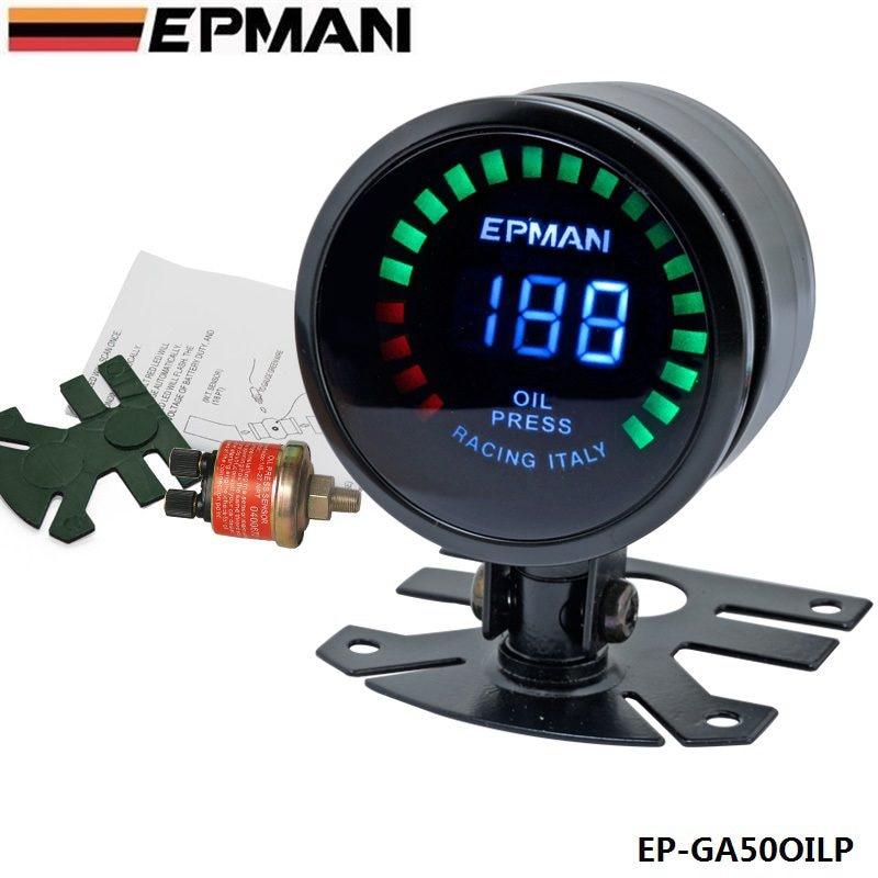 "EPMAN - Epman Racing 2"" 52mm Smoked Digital Color Analog LED Psi/Bar Oil Pressure Meter Gauge With Sensor For BMW IX EP-GA50OILP"