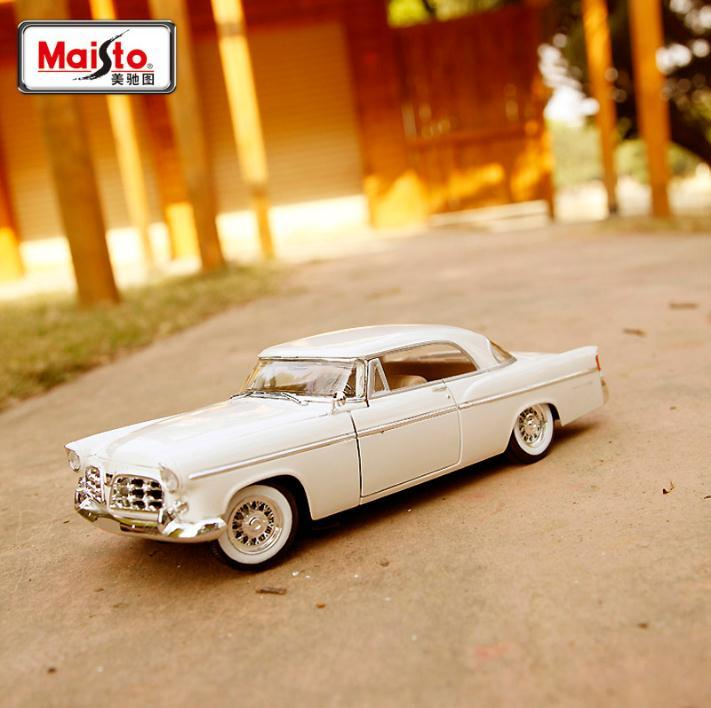 1956 Chrysler 300B 1:18 Maisto car model classic cars alloy diecast Quality Collection Toy gift boy Retro original couple 1 18 scale maisto classic children 1956 chrysler 300b antique vintage car metal diecast vehicle gift model kids toys collectible