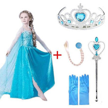 Fancy Baby Girl Princess Elsa Dress for Clothing Wear Cosplay Elza Costume Halloween Christmas Party With Crown  Children's wear high quality fancy princess elsa costume cosplay dress christmas for girls clothing baby role play halloween dresses with crown