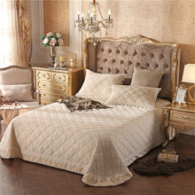 yellow luxury European Style Fleece fabric Bedspread Pillowcases Bed Sheet Bed Cover blanket 245X245cm 3pcs(China)