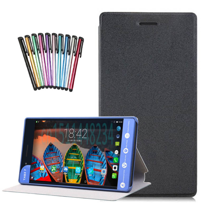PU leather stand case cover For Lenovo Tab 3 730F 730M 730X 7 inch tablet covers cases for TB3-730F+screen protector +Stylus pen universal 9 7 10 10 1 inch tablet cases filp stand pu leather case cover for modecom momentum 10 inch center film pen kf492a