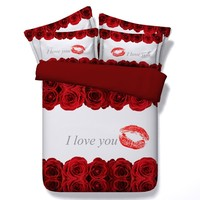 I Love You Bedding Red Rose Comforter sets Lips duvet cover bed in a bag sheets doona quilt Super King size Queen full twin 5PCS