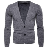 2019 New Arrival Man Cardigan Sweater Fashion Cotton V Neck Solid Long Sleeve Sweaters For Men Casual Slim Fit Knitted Sweater