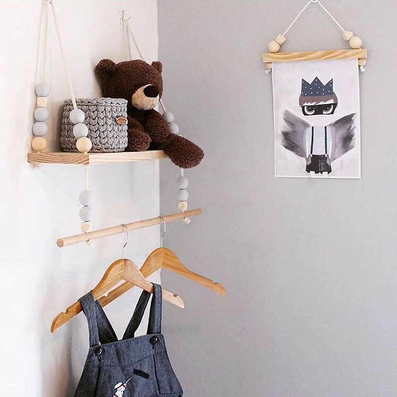 Wall Storage Shelf Modern Wooden Holder Clothes Hanger Rack Holder Decorative Wall Shelves Organizador Kids Photography Props