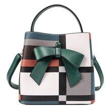 Handbag Bucket Bag Women's 2019 New satchel bow tie fashion single-shoulder bag