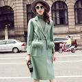New 2016 autumn and winter big yards women fashion casual long clothes woolen cashmere coat Female overcoat with belt