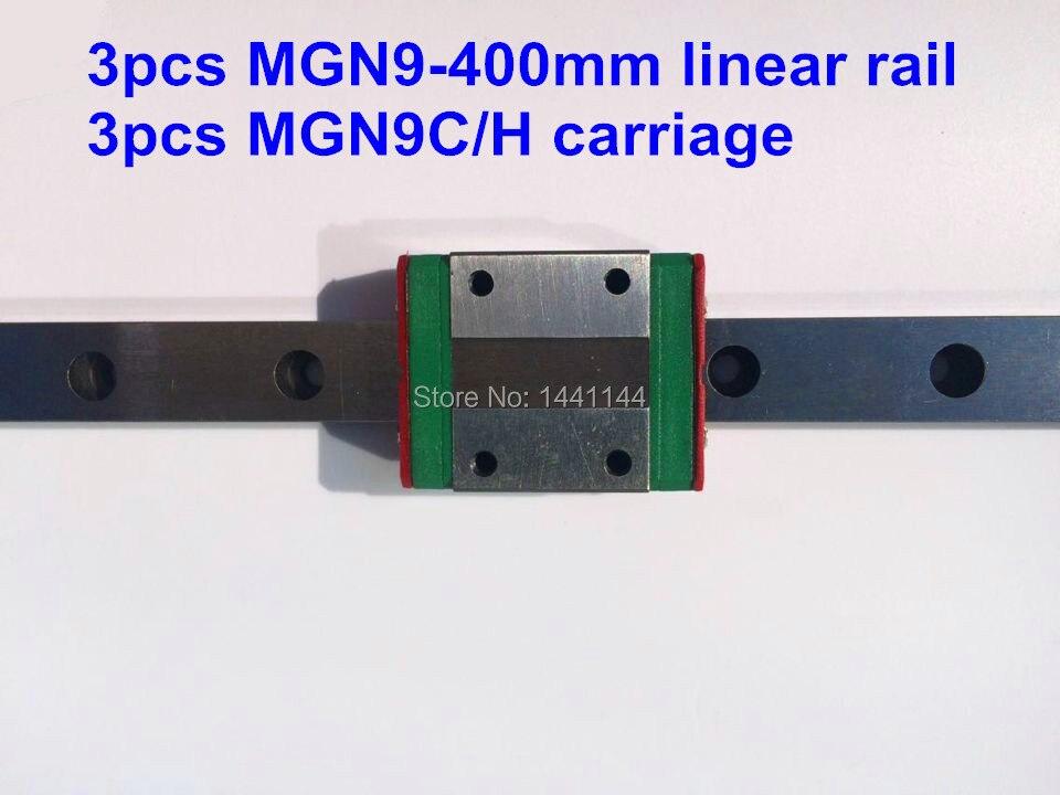 MGN9 Miniature linear rail: 3pcs MGN9 - 400mm rail+3pcs MGN9C/MGN9H carriage for X Y Z axies 3d printer parts 3pcs rail
