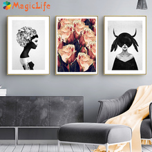 Black And White Wall Art Canvas Painting Girl Nordic Posters Abstract Pictures Cuadros Decoracion Unframed