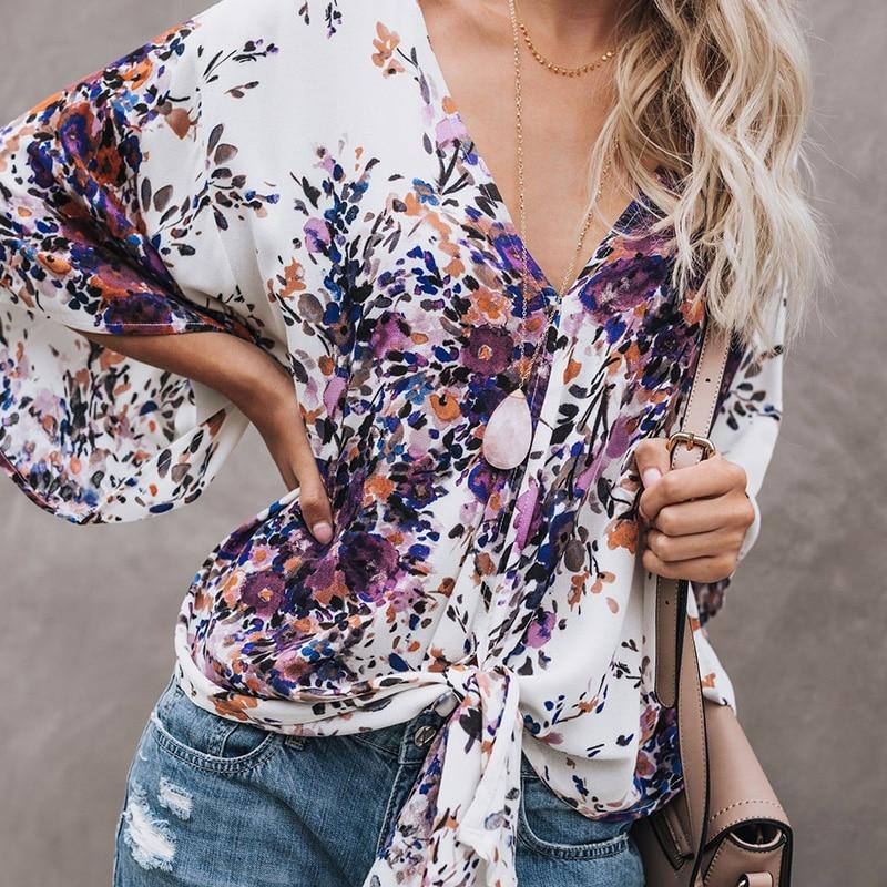 Sexy V-neck Print Lace-Up   Blouse   Women Batwing Sleeve Streetwear Loose   Blouses   Tops Boho Summer Chiffon   Blouse     Shirt   clothing