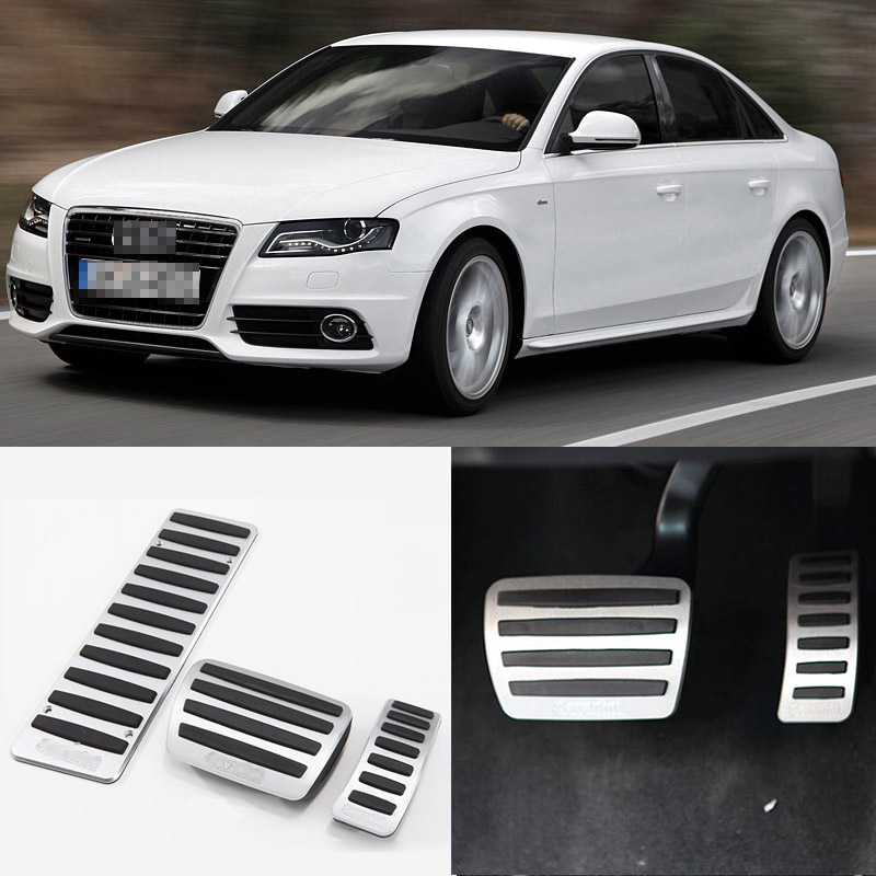 Brand New 3pcs Aluminium Non Slip Foot Rest Fuel Gas Brake Pedal Cover For Audi A4L 2009-2017 AT brand new 3pcs aluminium non slip foot rest fuel gas brake pedal cover for audi q3 at 2013 2016