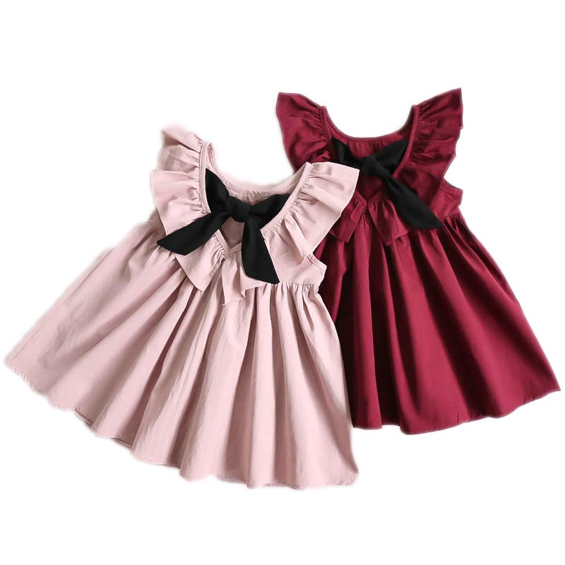 Dresses Childrens Clothing Children Baby Girls Bowknot Princess Bow Dress 1-6Y pink, yellow,rose red,wine red cotton kid clothDresses Childrens Clothing Children Baby Girls Bowknot Princess Bow Dress 1-6Y pink, yellow,rose red,wine red cotton kid cloth
