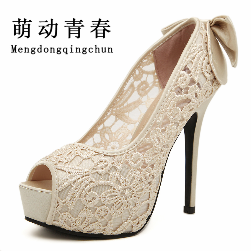 2015 Women Wedding Shoes Sexy Lace Peep Toe High Heels Platform Pumps Summer Dress Pumps Womens Sweet Bow Bridal Shoes cdts 35 45 46 summer zapatos mujer peep toe sandals 15cm thin high heels flowers crystal platform sexy woman shoes wedding pumps