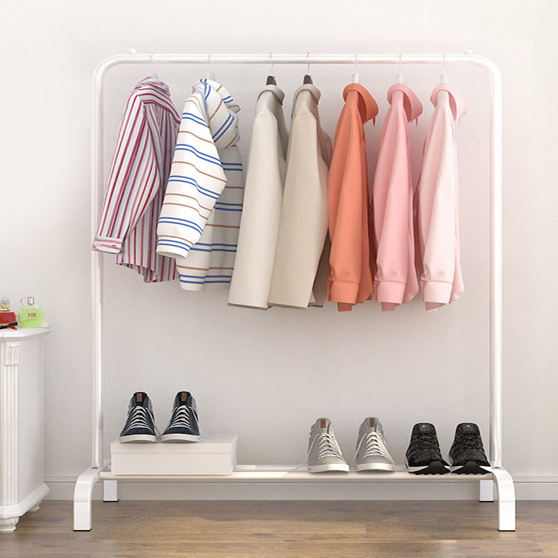Simple Standing Clothes Rack Drying Hanger Floor Clothes Hanger Rack Storage Shelf Bedroom Furniture