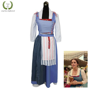 Halloween Movie Beauty and the Beast Princess Belle Maid Blue Dress Emma Watson Dress Princess Belle Housemaid Costumes(China)