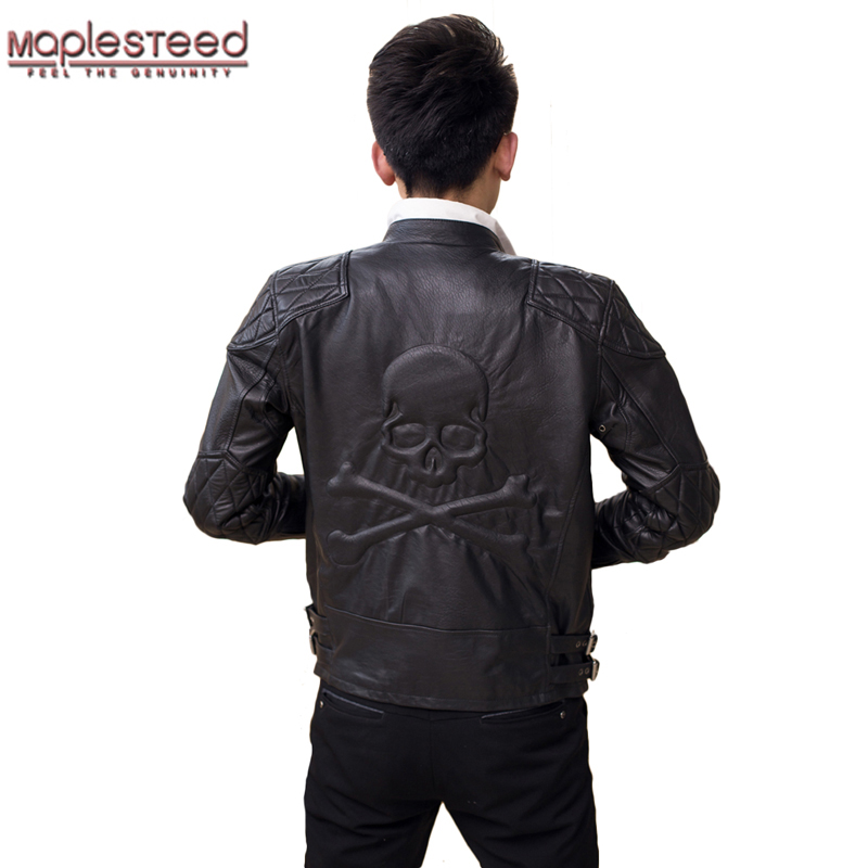 MAPLESTEED Men Leather Jacket Genuine Real Sheep Skin Brand Skull Man Punk Biker Motorcycle Short Slim Coat Autumn Jaqueta ZH135