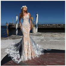 Smileven Mermaid Boho Wedding Dress Champagne Lace Bride Dresses V Neck  Elegant Illusion Back Bridal Gowns 2019