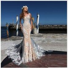 Smileven Sereia Boho Vestido de Noiva Champagne Rendas Vestidos de Noiva V Pescoço Elegante Illusion Voltar vestido de Casamento Vestidos de Noiva 2019