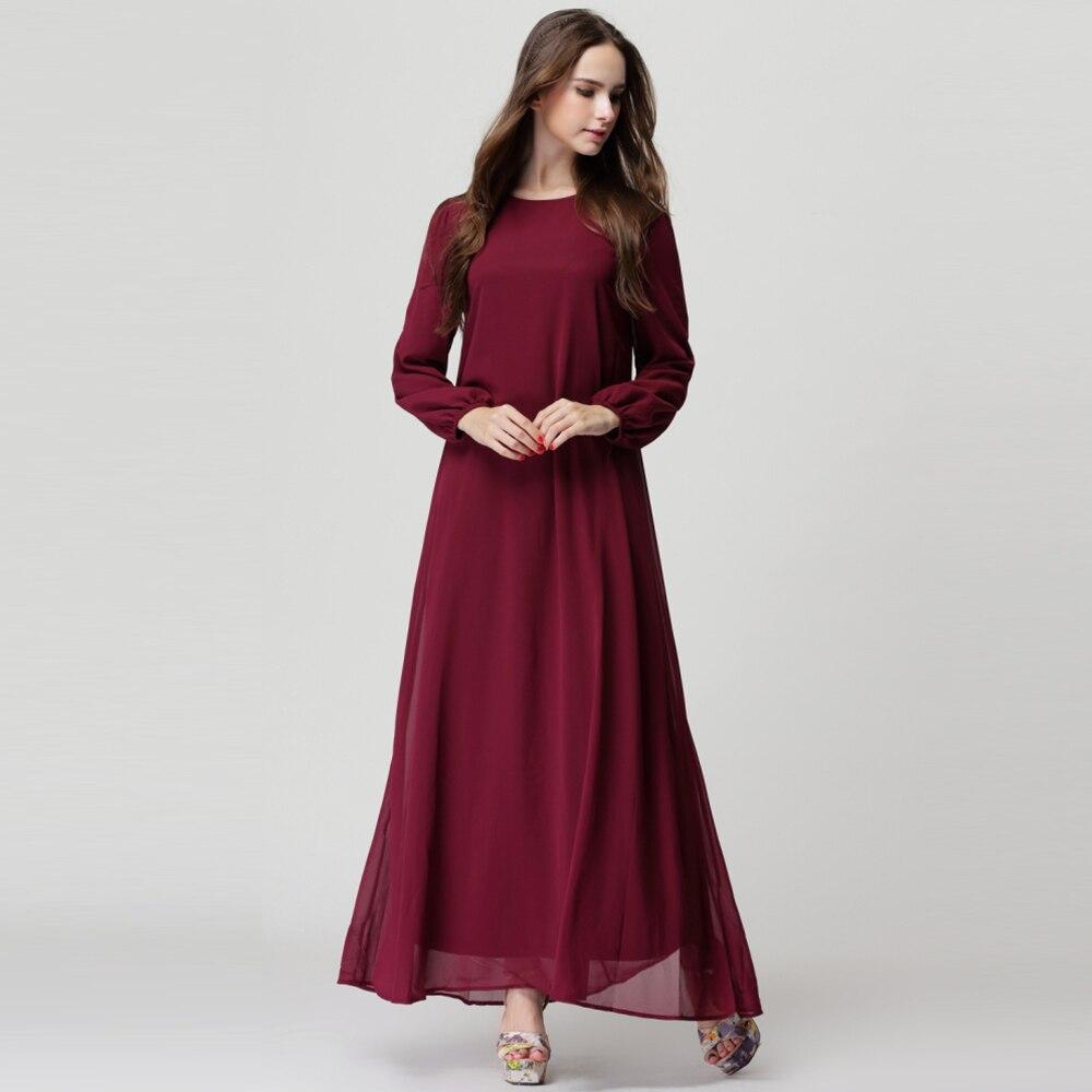 nueva otoño larga musulmán dress para las mujeres de la alta calidad o-cuello d