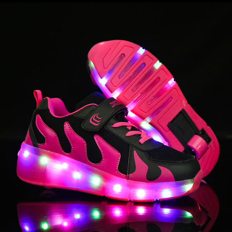 A2kmsmss5a Winged Trainers Kids Sneakers Led Shoes with Lights Casual Walking Wheels Children Girls Boys Comfortable