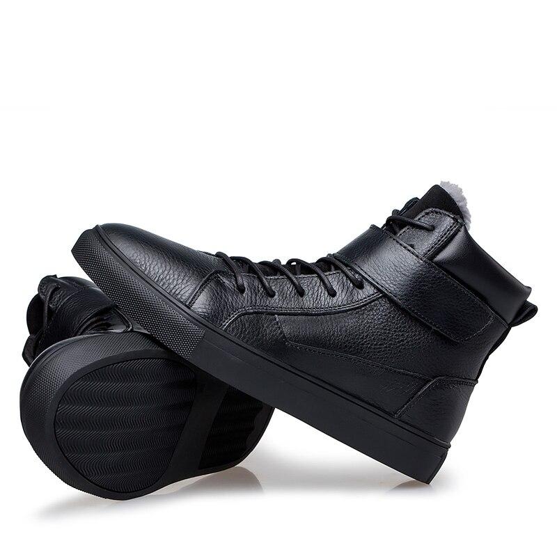 Moda Vaca Black Motocicleta Inverno Veludo Neve Fur Boots Genuíno Além Szie Botas Couro Homens 48 black With De Disso Ankle Quente Sapatos Casuais 100 36 wxO7q1fZW