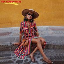 4e34a932e Tentar Tudo As Mulheres Vestido De Verão Longo 2018 Camisa Listrada Vestido  de Verão Mulheres Algodão Colorido Bolso Longo Casua.