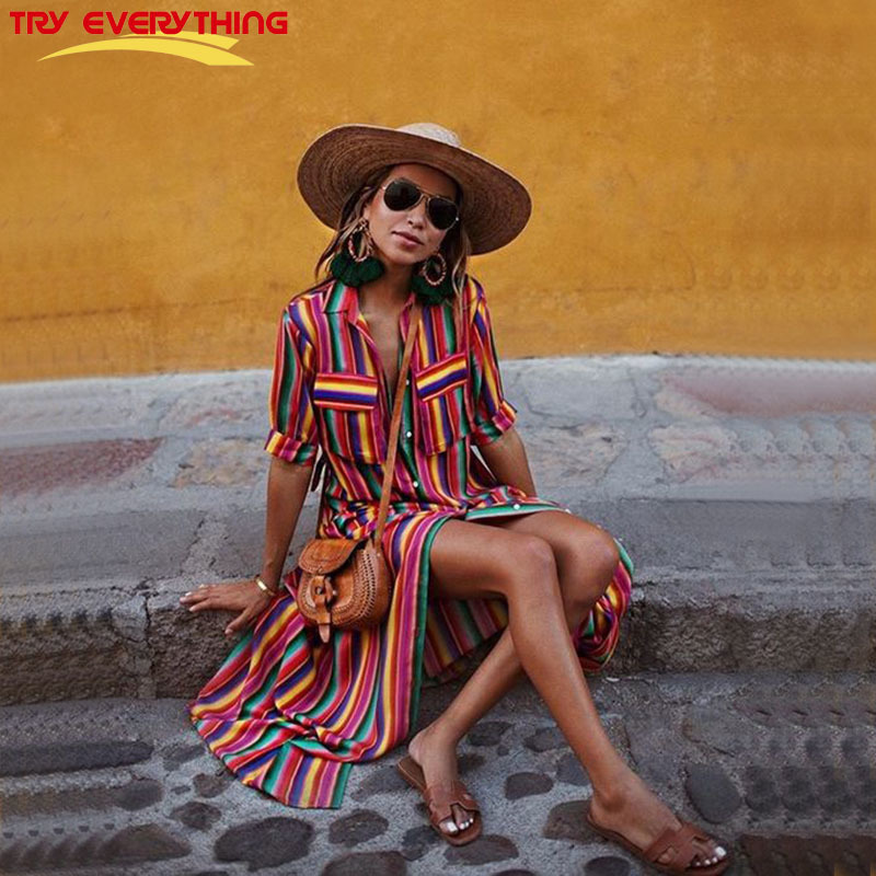Try Everything Women Summer Dress Long 2019 Striped Shirt Cotton Colorful Pocket Casual Vestido