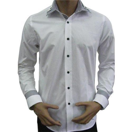 Designer Mens Dress Shirts Long Sleeve Button Down Gentlemens Business Shirts Double Layered Collar Design Hot Sale QR-0035