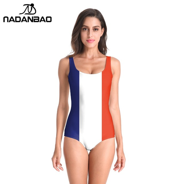 2bb9e02f76 NADANBAO Biquinis Feminino 2019 Flag Printed One Piece Swimsuit Beach Cover  Up Surfing Backless Sexy Plus Size Swimwear B126-079