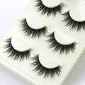 3 par/set 3D Pestañas Postizas Cruz Desordenado Gruesa Naturales Fake Pestañas Maquillaje Profesional Consejos Patudo Larga Ojo Falso pestañas