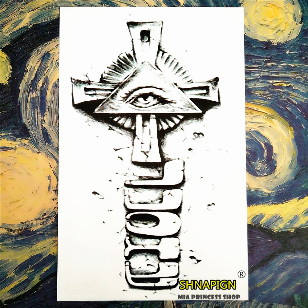 SHNAPIGN Holy Cross Pyramid Temporary Tattoo Body Art Sleeve Arm Flash Tattoo Stickers 12*20cm painless Henna selfie stickers