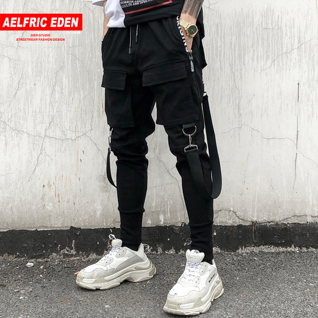 Aelfric Eden 2019 Men's Fashion Personality Slim Elasticity Hip Hop Pants Multi Pocket Haran Joggers Tootsies Singer Costumes