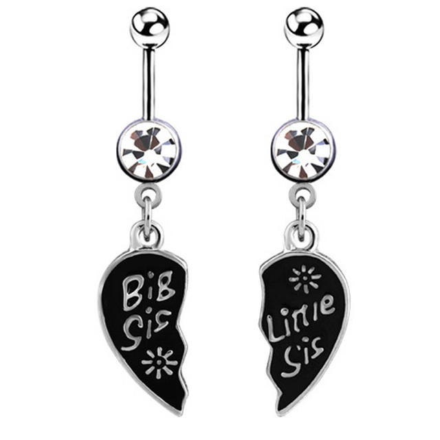2pcs big little sister body piercing jewelry crystal