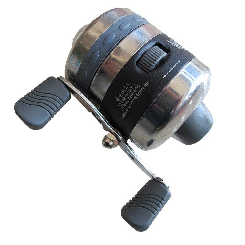 Carretéis de pesca para estilingue tiro uso de peixes dardo aço inoxidável fechado roda pesca ao ar livre caça