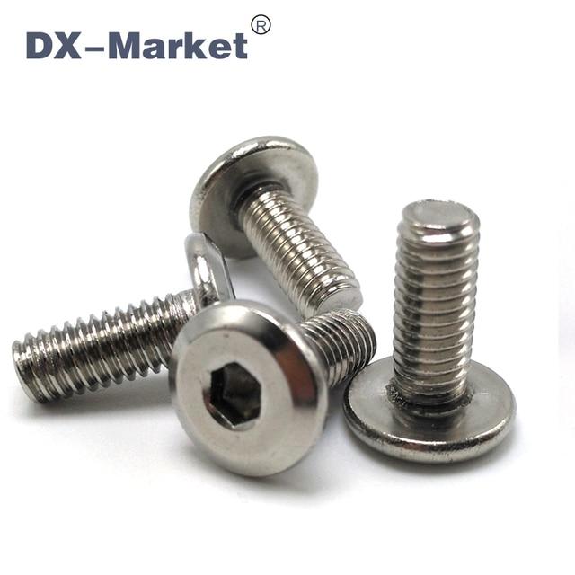 M6*50 , 50pcs , Sus304 Hexagon Socket Screw Metric Thread Flat Screw , Bed